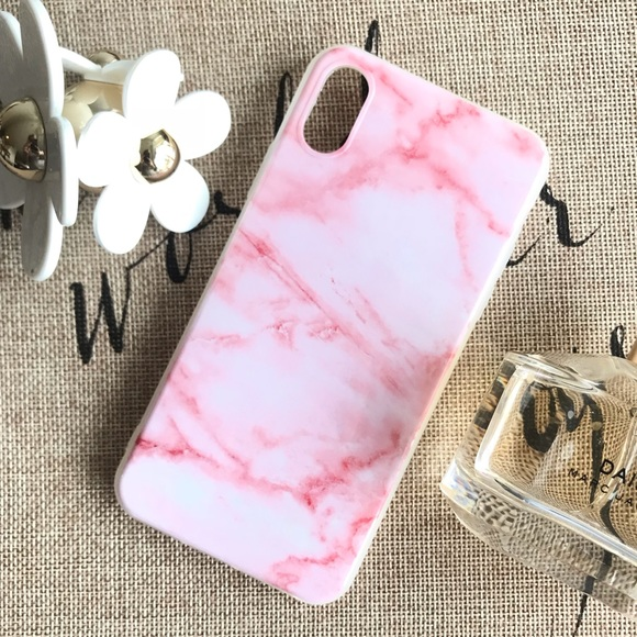 premium selection ee20e f3c86 New Pink Marble iPhone X / XS Silicone Cute Case Boutique